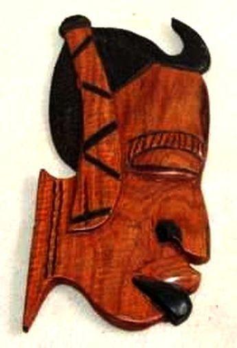 Figurine décorative profil 2 tons en bois teck 3435-AX-206