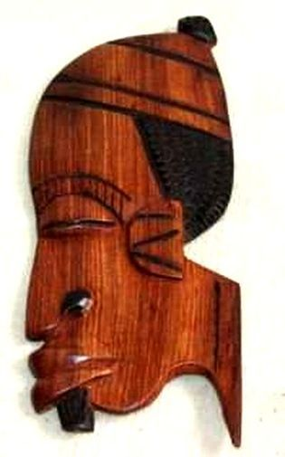 Figurine décorative profil 2 tons en bois teck 3436-AX-207