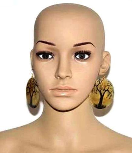 Boucle d'oreille en corne bovine décorée 4861-BX-310