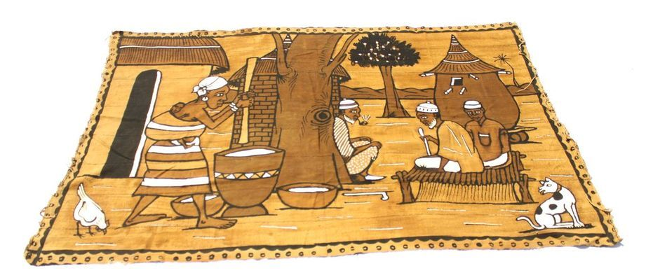 Tableau Bogolan scène de village