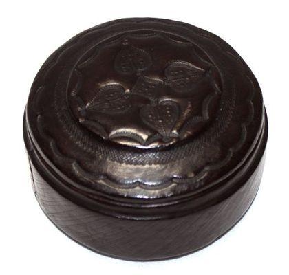 Boîte ronde art Touareg en cuir BBRD5