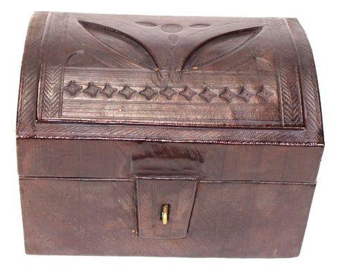 Boîte rectangulaire art Touareg en cuir BBR2