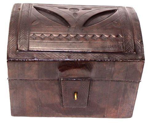 Boîte rectangulaire art Touareg en cuir BBR8