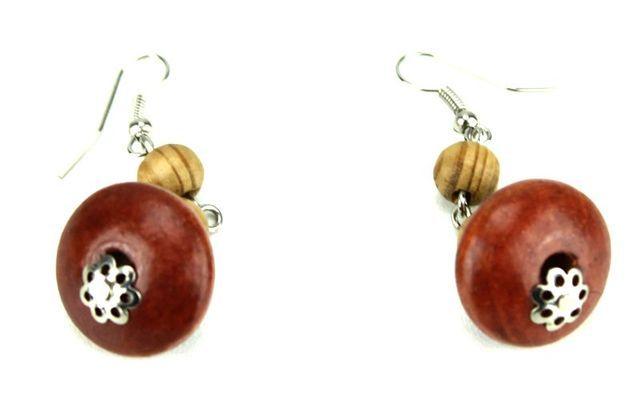 Boucle d'oreille artisanal en perles et bois