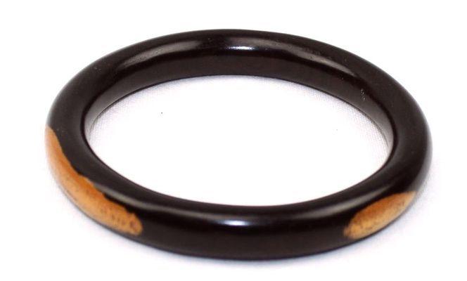 Bracelet artisanal rond en bois ébène