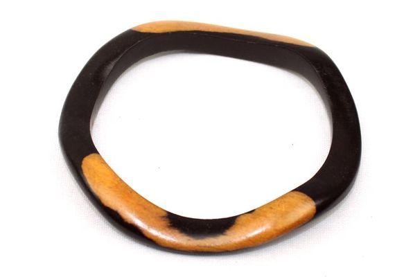 Bracelet artisanal oval en bois ébène