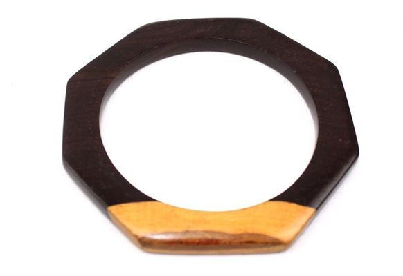 Bracelet artisanal losange en bois ébène