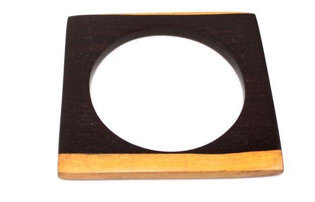 Bracelet artisanal plat en bois ébène