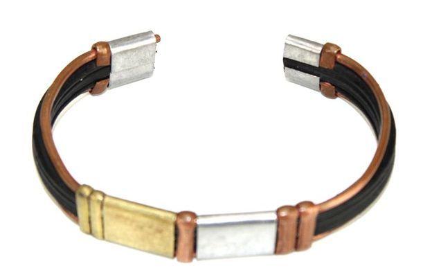 Bracelet artisanal bronze cuivre et métal