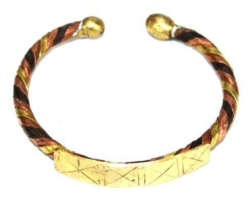 Bracelet artisanal en bronze cuivre et métal