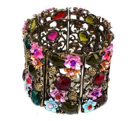 Bracelet artisanal ancien fleuri