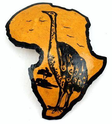 Carte afrique. Peinture sur calebasse découpée 6573-S6V-1810