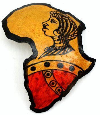 Carte afrique. Peinture sur calebasse découpée 6578-S6V-1810