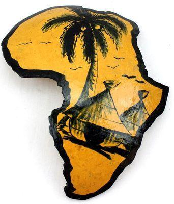 Carte afrique. Peinture sur calebasse découpée 6579-S6V-1810