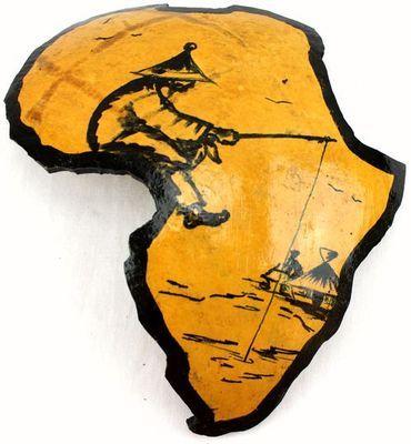 Carte afrique. Peinture sur calebasse découpée 6580-S6V-1810