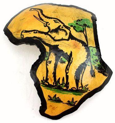 Carte afrique. Peinture sur calebasse découpée 6581-S6V-1810