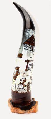 Corne bovine décorée avec socle en ébène 4114-BX-127