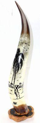 Corne décorée avec socle en ébène 4123-BX-129