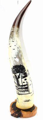Corne décorée avec socle en ébène 4137-BX-134
