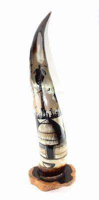 Corne décorée avec socle en ébène 4152-BX-139