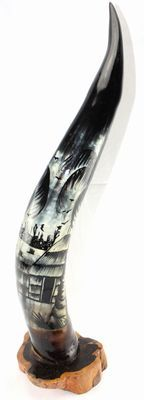 Corne décorée avec socle en ébène 4120-BX-128