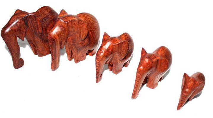 Troupe éléphants bois teck TRET1