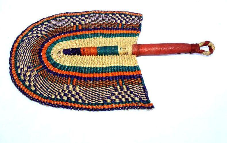 Eventail Africain Artisanal - Raphia Tressé