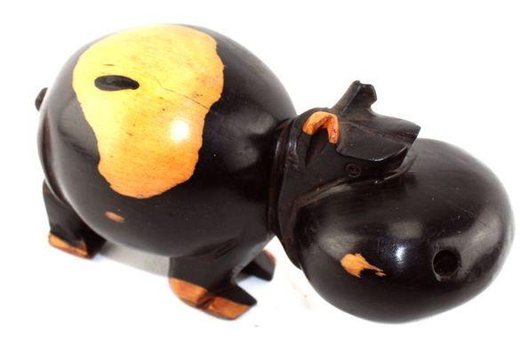 Rigolo Hippopotame en ébène  2 tons HDME5