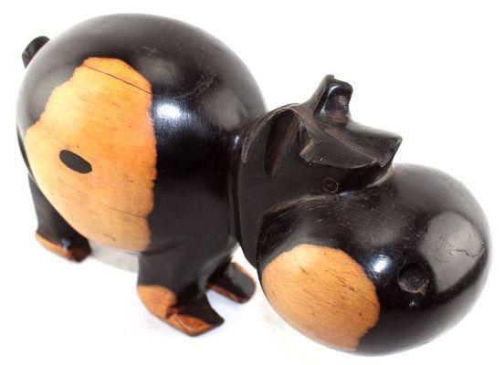 Rigolo Hippopotame en ébène  2 tons HME01a