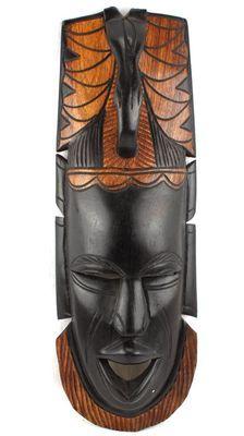 Masque bicolore en bois teck 3169-AX-123
