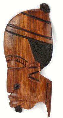 Masque déco mural en bois teck 3436-AX-207