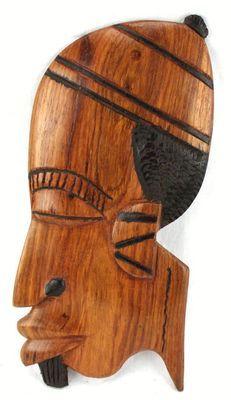 Masque déco mural en bois teck 3434-AX-205