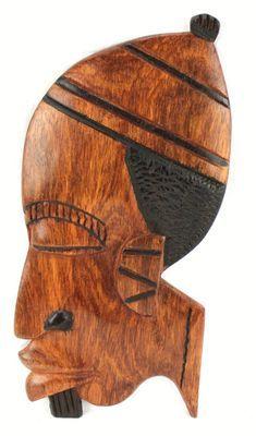 Masque déco mural en bois teck 3432-AX-203