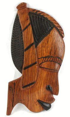 Masque déco mural en bois teck 3432-AX-100-A