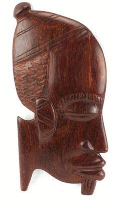 Masque déco mural en bois teck 3432-AX-100-C