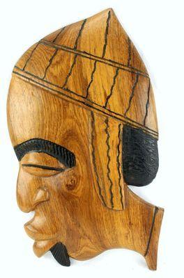 Masque déco mural en bois teck 3432-AX-100-E