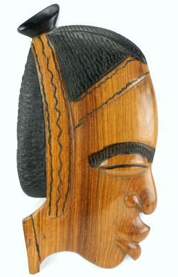 Masque déco mural en bois teck 3432-AX-100-B