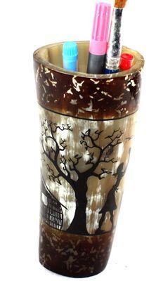 Pot à crayon en corne décorée POCRDE7