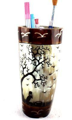Pot à crayon en corne décorée POCRDE14a