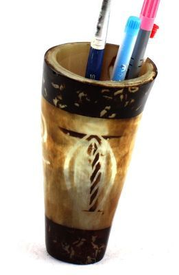 Pot à crayon en corne décorée POCRDE14