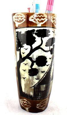 Pot à crayon en corne décorée POCRDE13