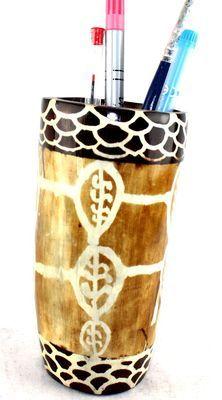 Pot à crayon en corne décorée POCRDE10