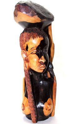 buste femme en bois ébène 5571-SAX-409