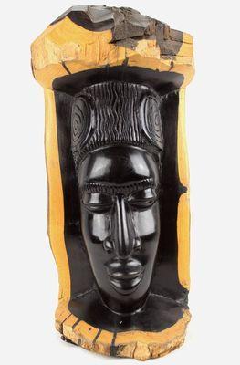 Statuette buste taillé sur tronc ébène 3488-AX-221