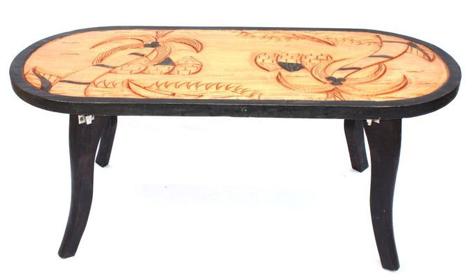 Table basse africaine motif palmier et cases 4225-BX-160