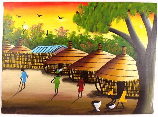 tableau  peinture sur tissus  village  RECTGTPT9