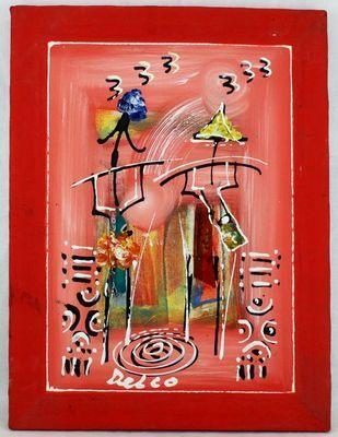 Tableau peint sur tissus 8404-A