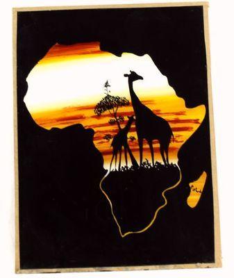 Tableau peinture sous verre  Sénégal 4039-BX-92