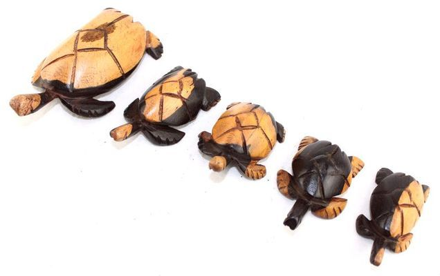 Série 5 tortues en bois ébène TSM3