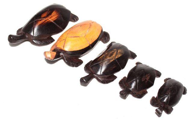 Série 5 tortues en bois ébène TSM7